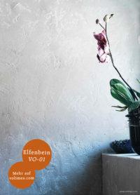 Mikrozement fugenlose Volimea Wandbeschichtung im Badezimmer in Elfenbein VO-01