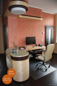 Mikrozement fugenlose Volimea Wandbeschichtung im Büro - Zimt VO-14