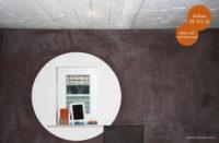 Mikrozement fugenlose Volimea Wandbeschichtung in einem Seecafe - Kakao 35-VO-21